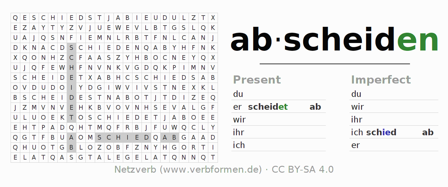 Word search puzzle for the conjugation of the verb abscheiden (hat)