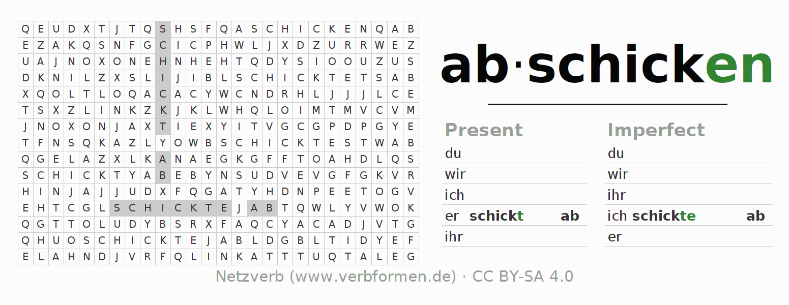 Word search puzzle for the conjugation of the verb abschicken