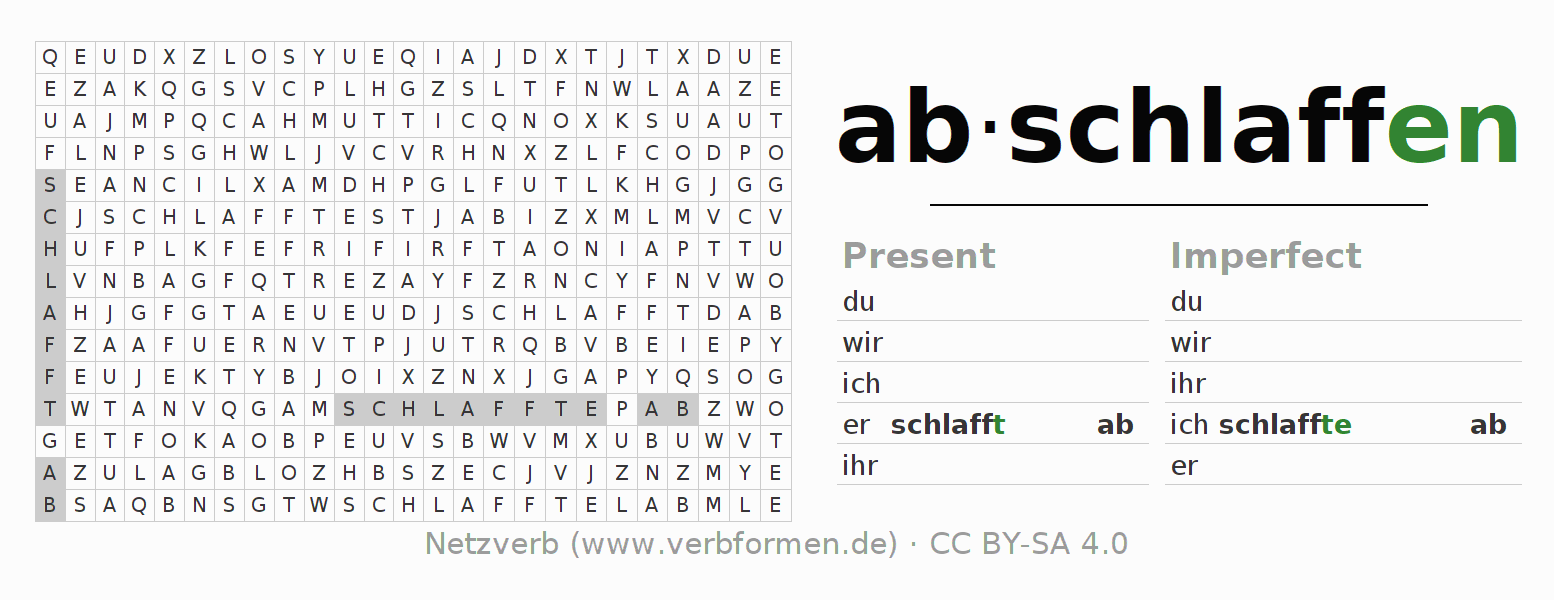Word search puzzle for the conjugation of the verb abschlaffen (hat)