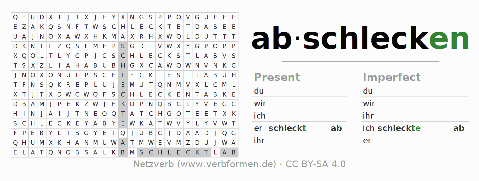 Word search puzzle for the conjugation of the verb abschlecken