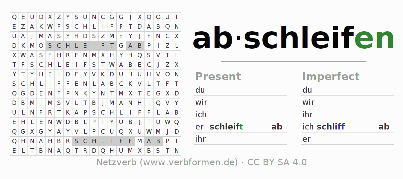 Word search puzzle for the conjugation of the verb abschleifen
