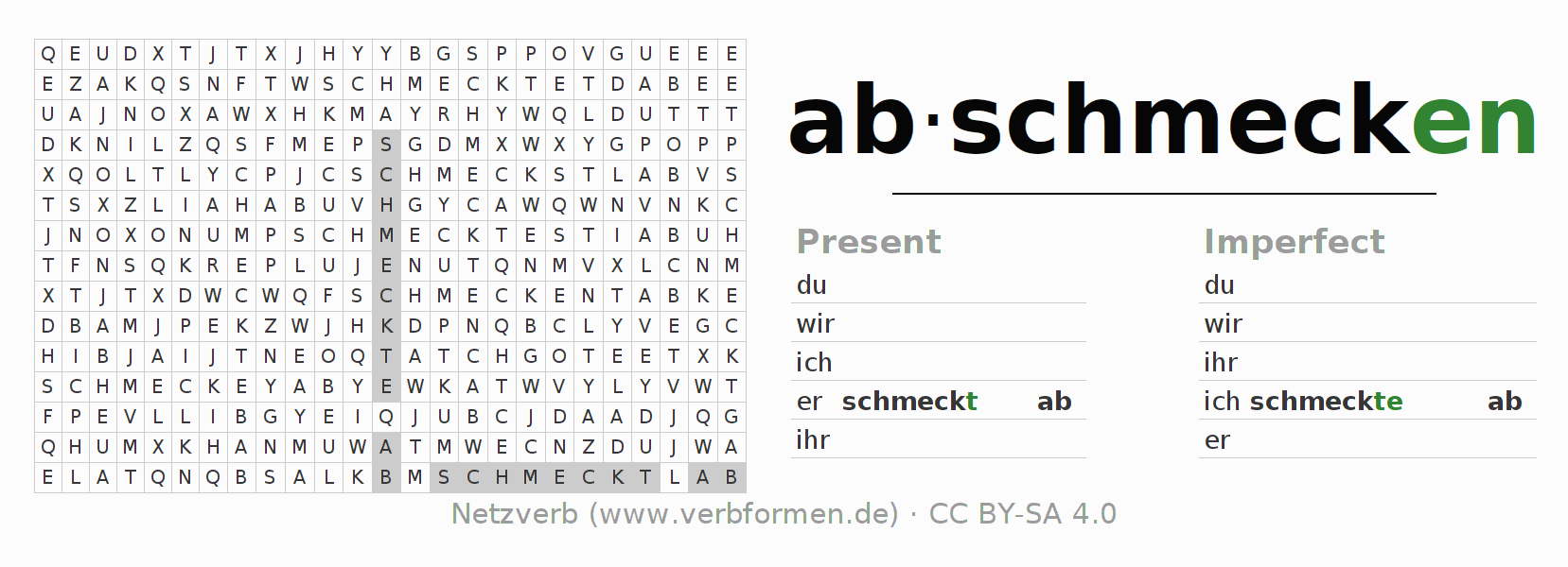 Word search puzzle for the conjugation of the verb abschmecken