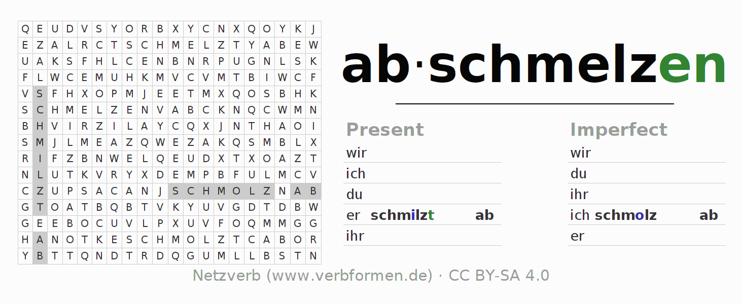 Word search puzzle for the conjugation of the verb abschmelzen (hat)