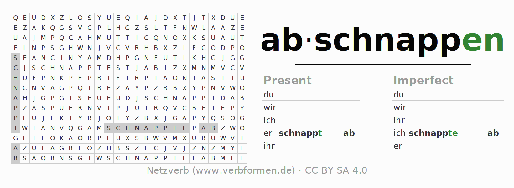 Word search puzzle for the conjugation of the verb abschnappen (ist)