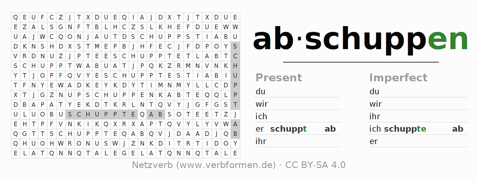 Word search puzzle for the conjugation of the verb abschuppen