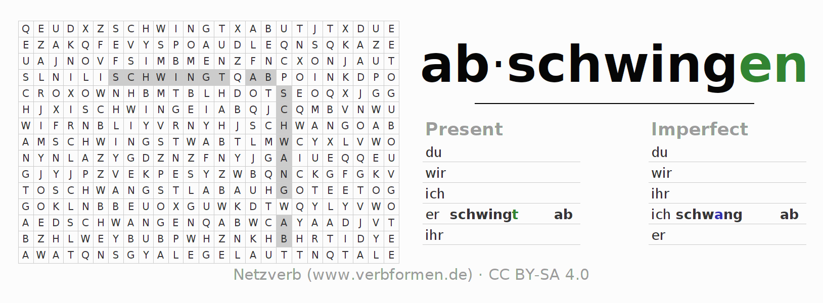 Word search puzzle for the conjugation of the verb abschwingen