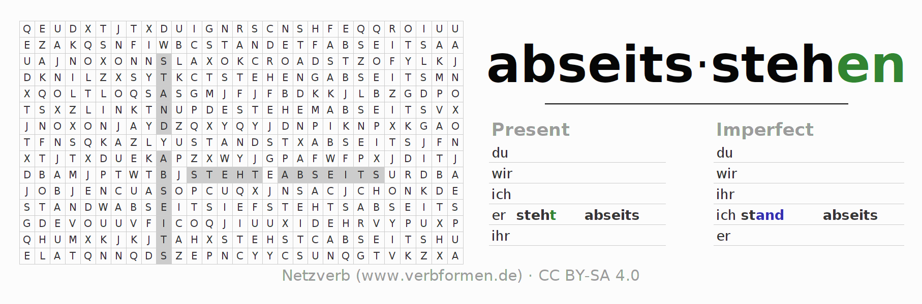 Word search puzzle for the conjugation of the verb abseitsstehen (hat)