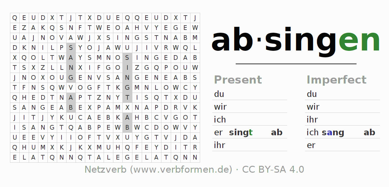 Word search puzzle for the conjugation of the verb absingen
