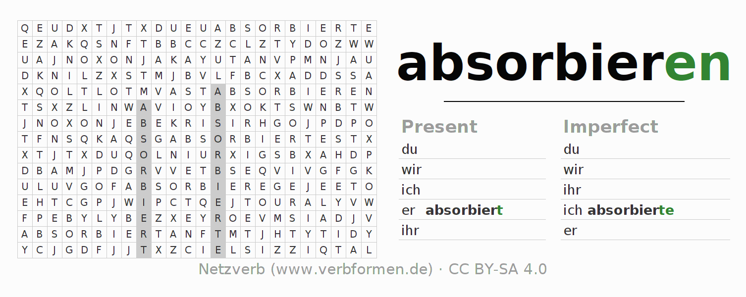 Word search puzzle for the conjugation of the verb absorbieren