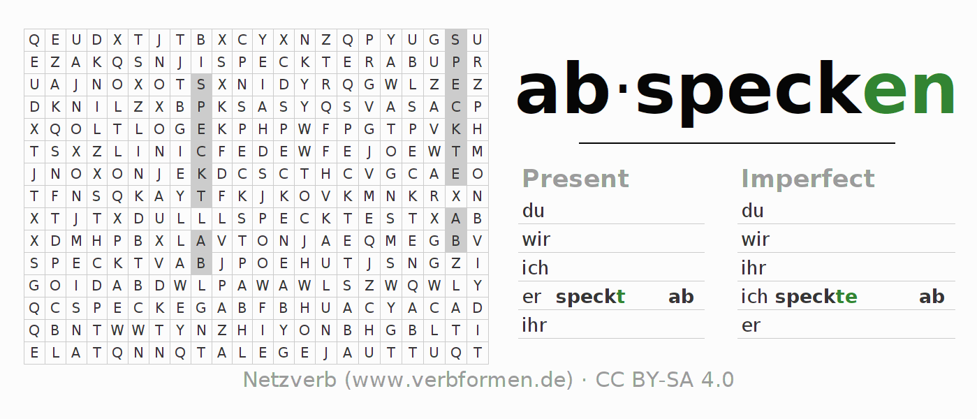 Word search puzzle for the conjugation of the verb abspecken