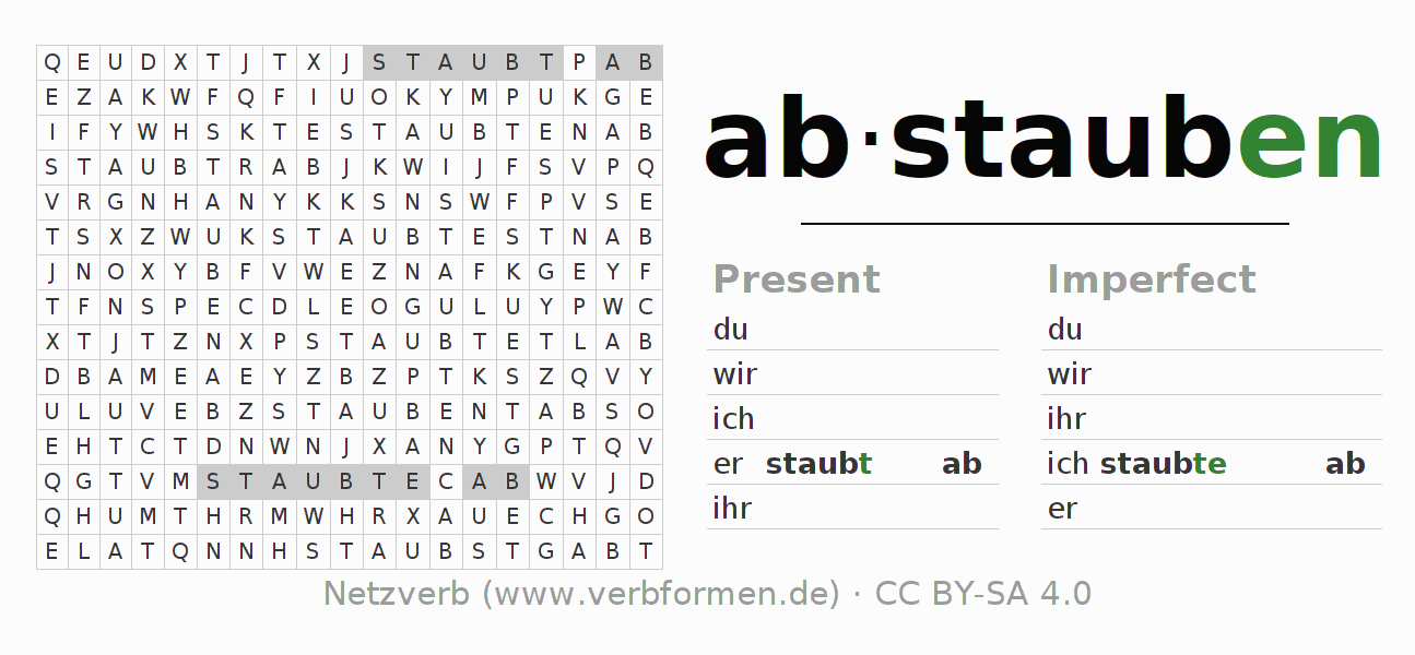 Word search puzzle for the conjugation of the verb abstauben