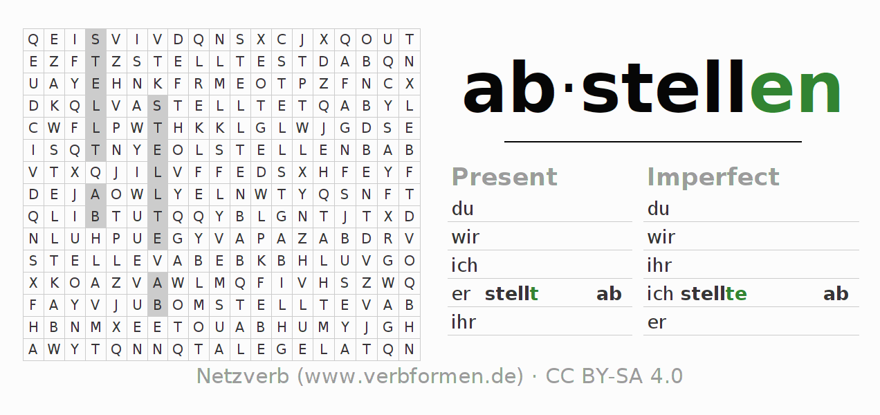 Word search puzzle for the conjugation of the verb abstellen