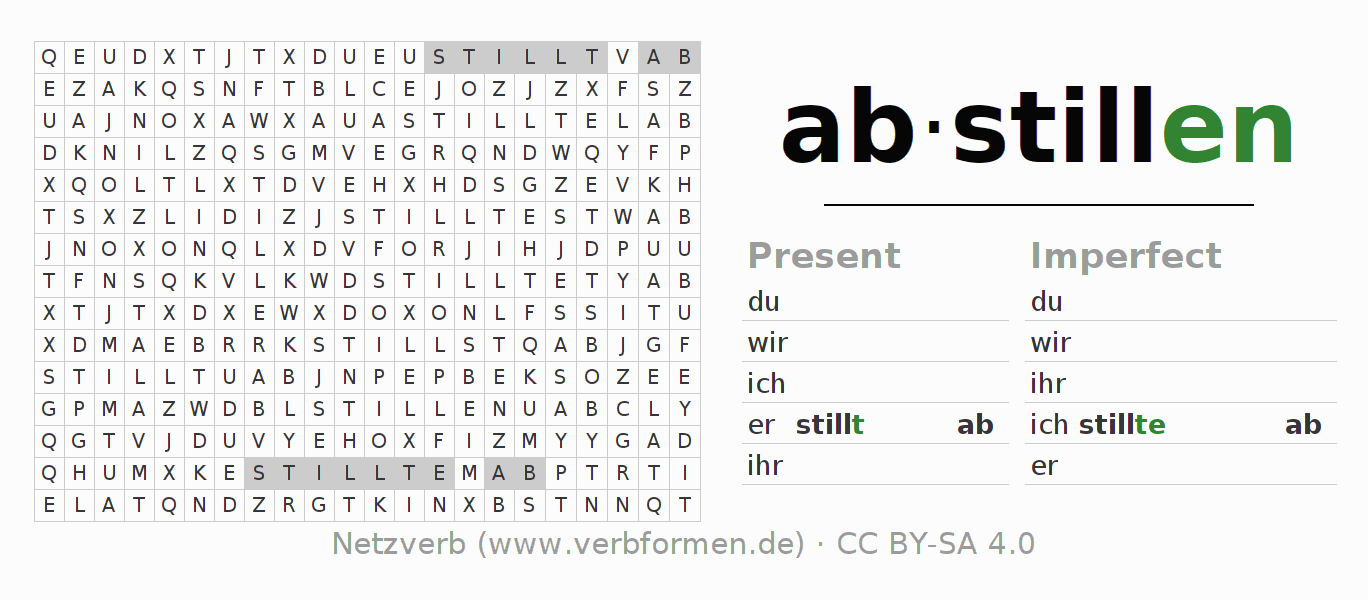 Word search puzzle for the conjugation of the verb abstillen