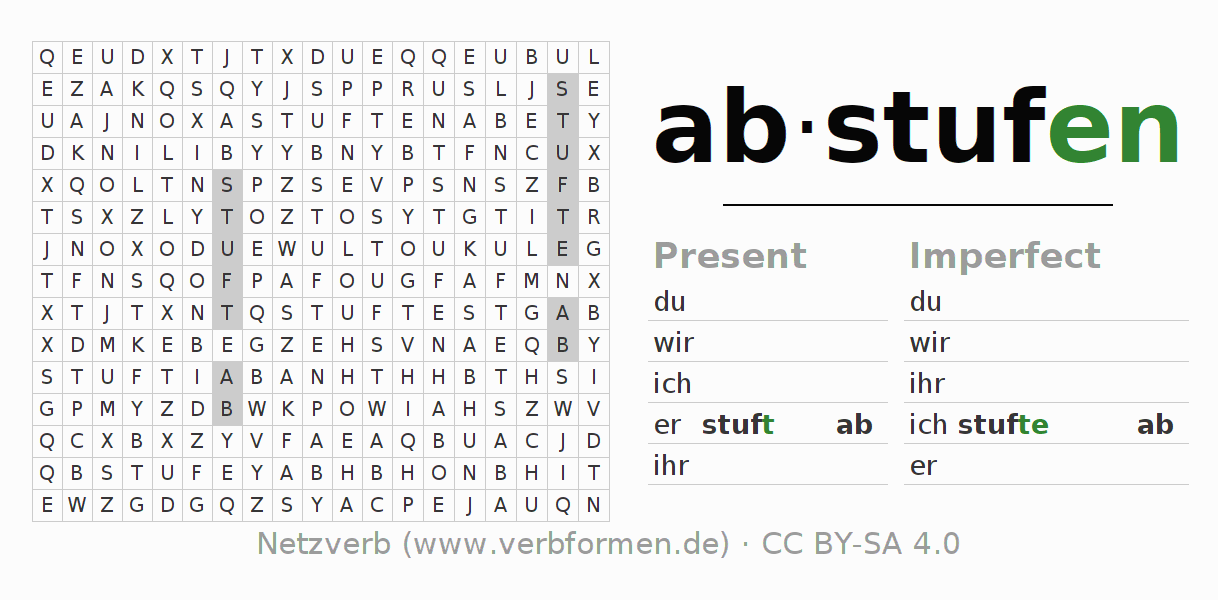 Word search puzzle for the conjugation of the verb abstufen