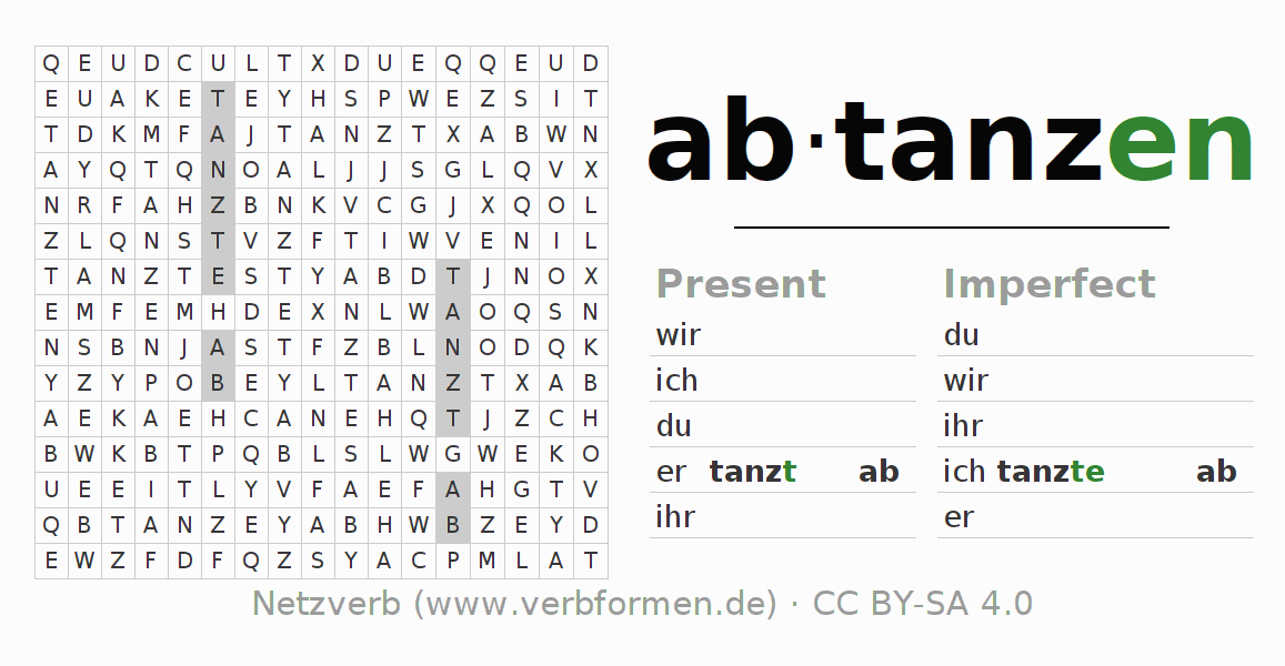 Word search puzzle for the conjugation of the verb abtanzen (ist)