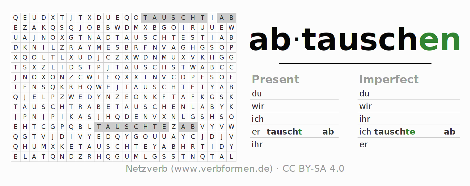 Word search puzzle for the conjugation of the verb abtauschen