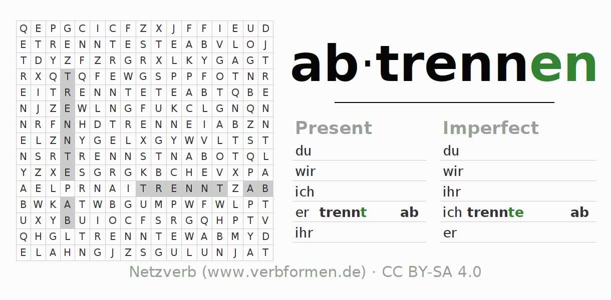 Word search puzzle for the conjugation of the verb abtrennen