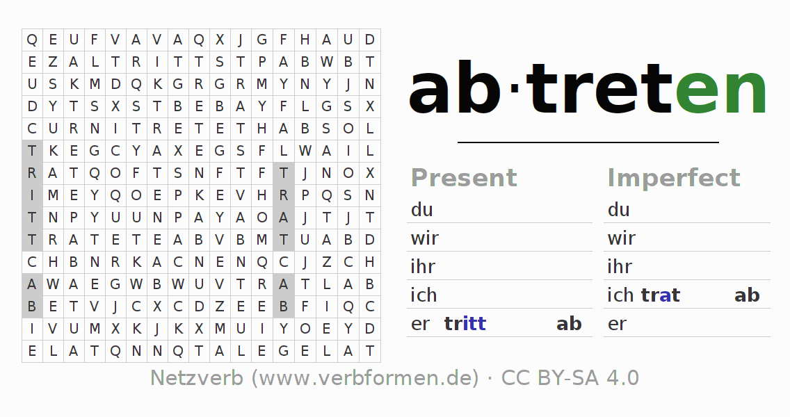 Word search puzzle for the conjugation of the verb abtreten (ist)