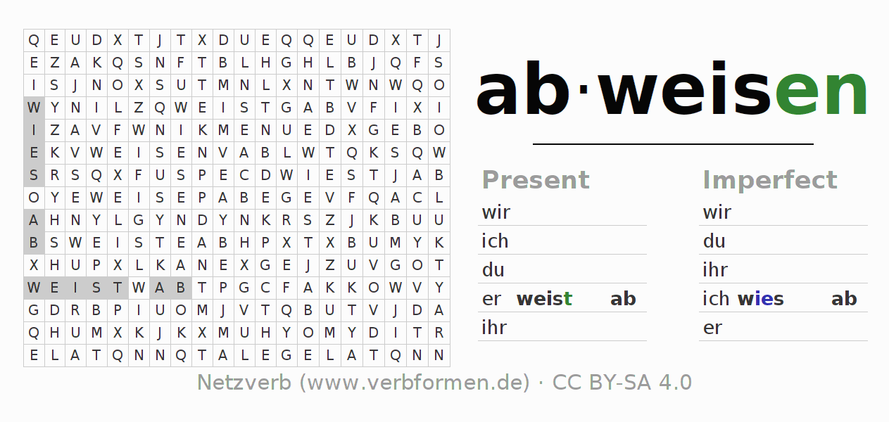 Word search puzzle for the conjugation of the verb abweisen