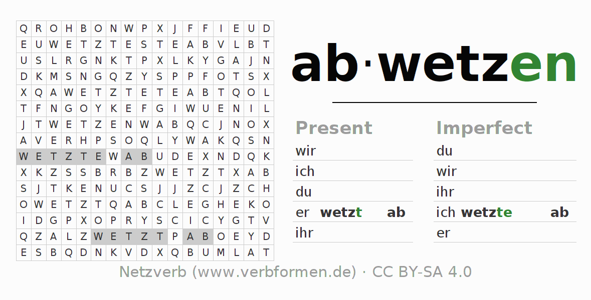 Word search puzzle for the conjugation of the verb abwetzen (ist)