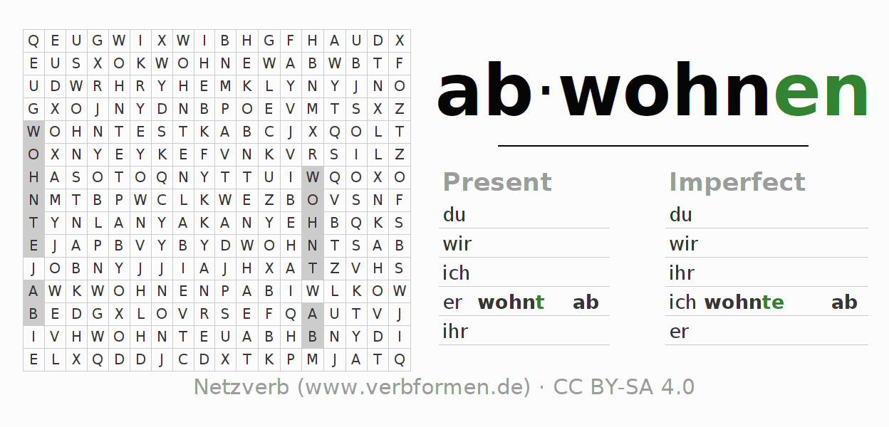 Word search puzzle for the conjugation of the verb abwohnen
