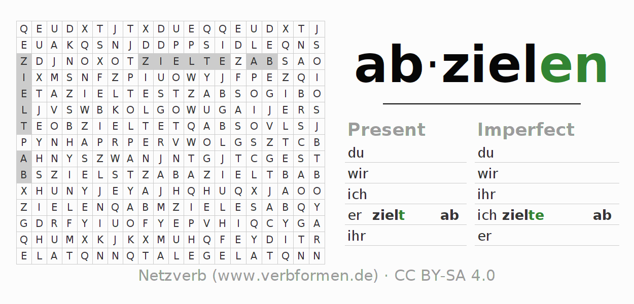 Word search puzzle for the conjugation of the verb abzielen