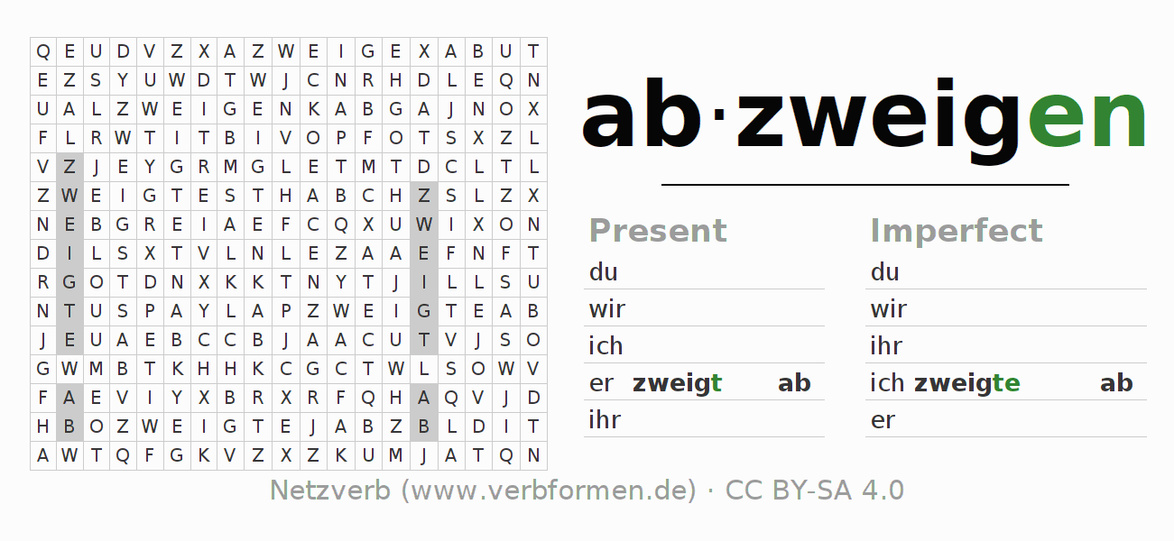 Word search puzzle for the conjugation of the verb abzweigen (ist)