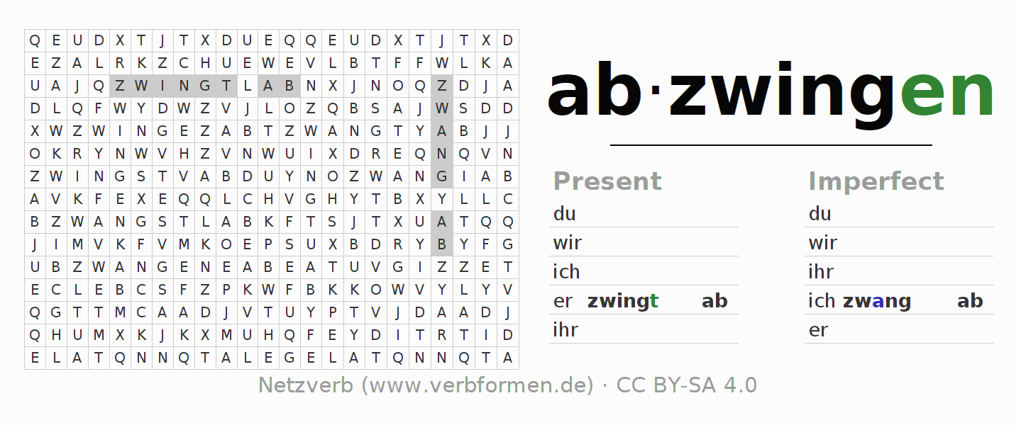 Word search puzzle for the conjugation of the verb abzwingen
