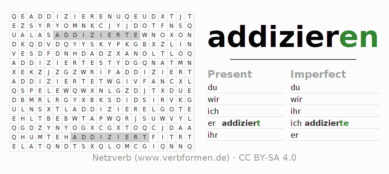 Word search puzzle for the conjugation of the verb addizieren
