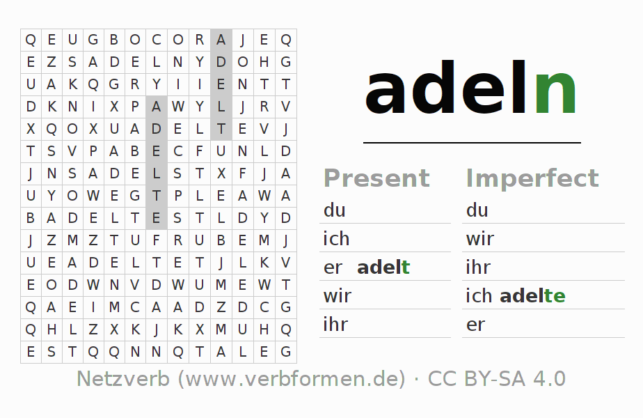 Word search puzzle for the conjugation of the verb adeln