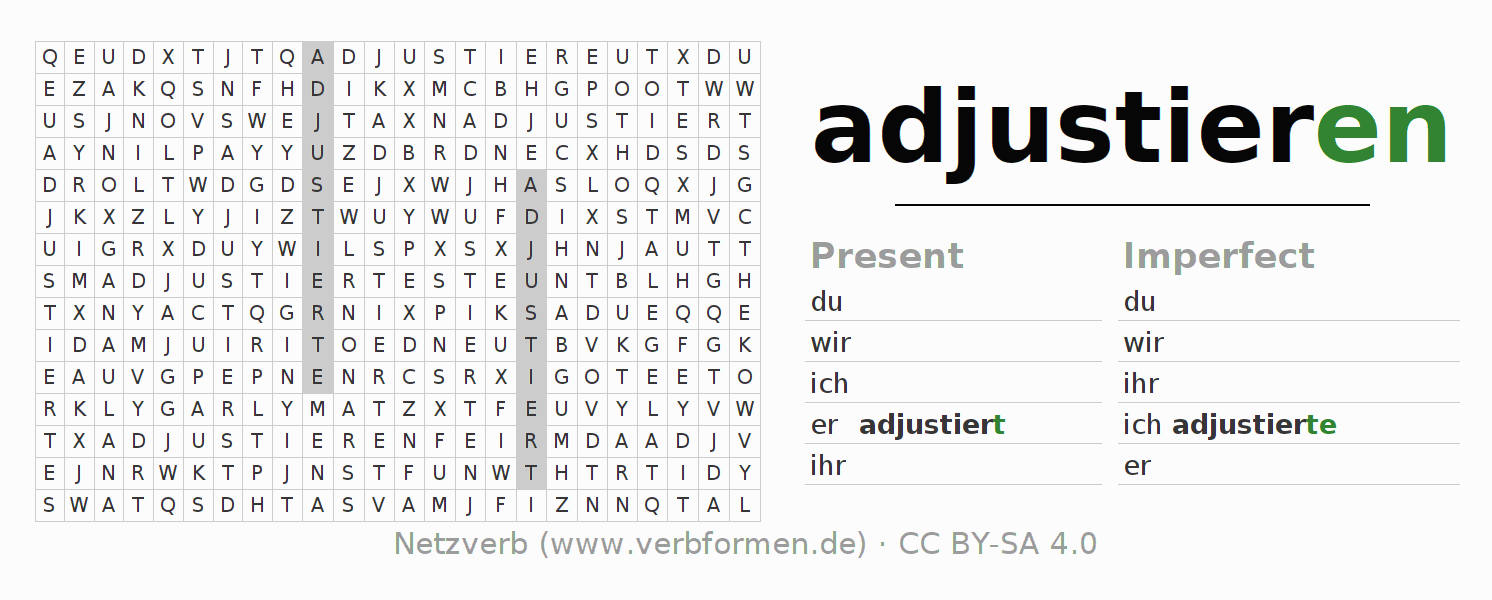 Word search puzzle for the conjugation of the verb adjustieren