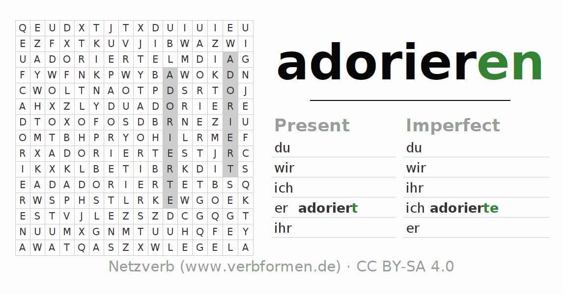 Word search puzzle for the conjugation of the verb adorieren