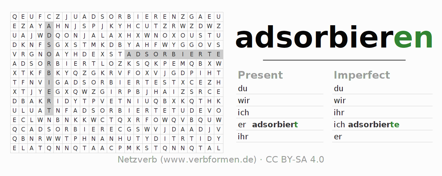Word search puzzle for the conjugation of the verb adsorbieren