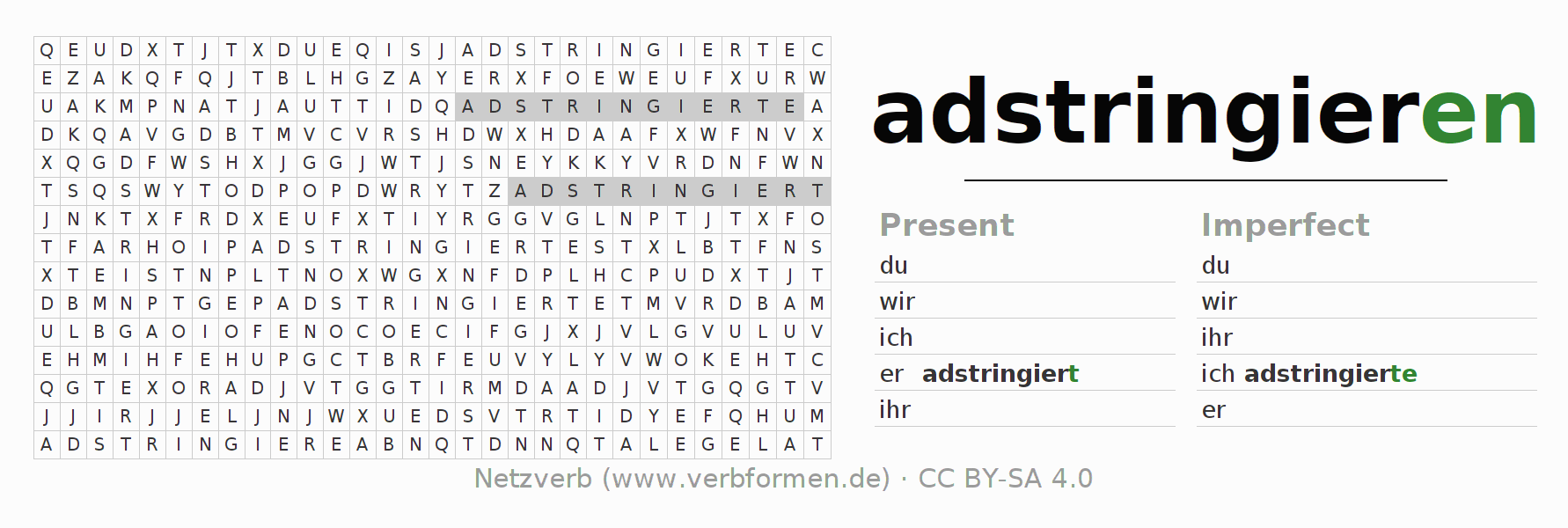 Word search puzzle for the conjugation of the verb adstringieren
