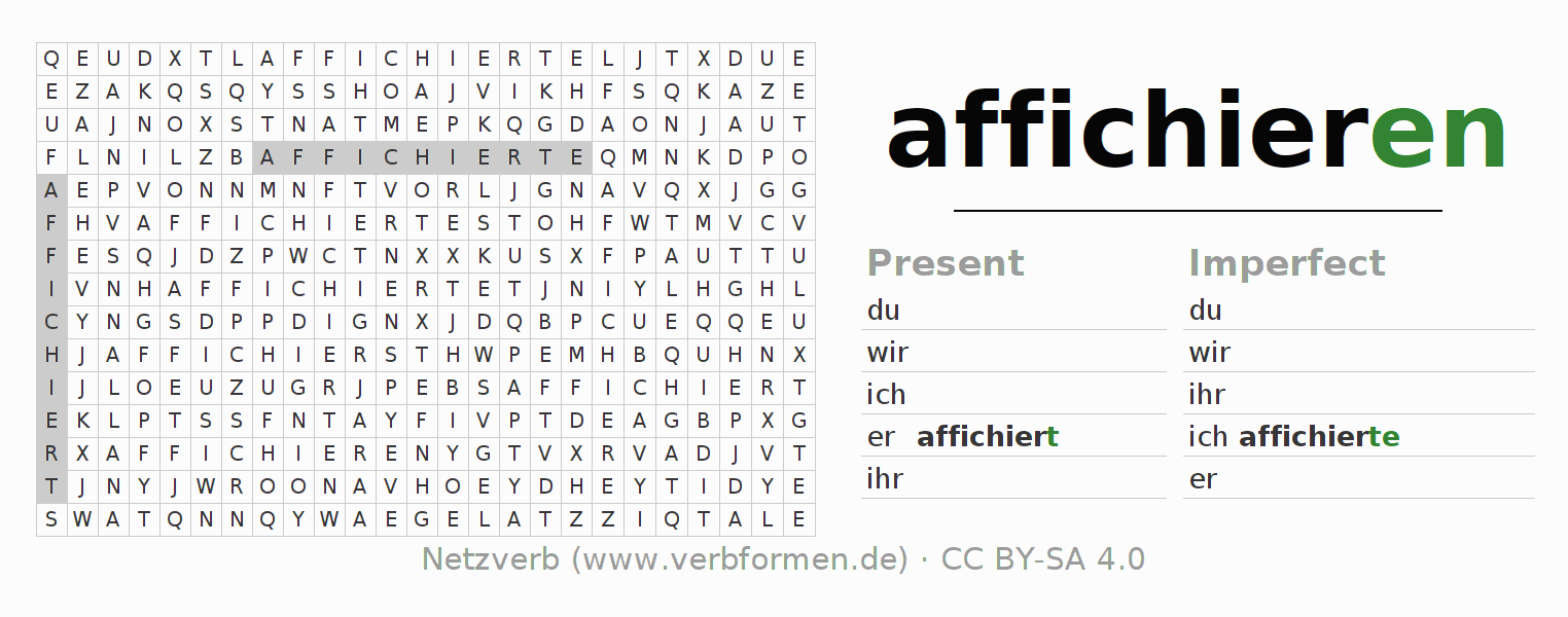 Word search puzzle for the conjugation of the verb affichieren