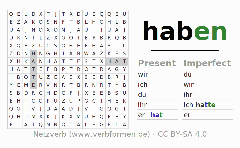 word search verb haben puzzle for the conjugation of german verbs netzverb active. Black Bedroom Furniture Sets. Home Design Ideas
