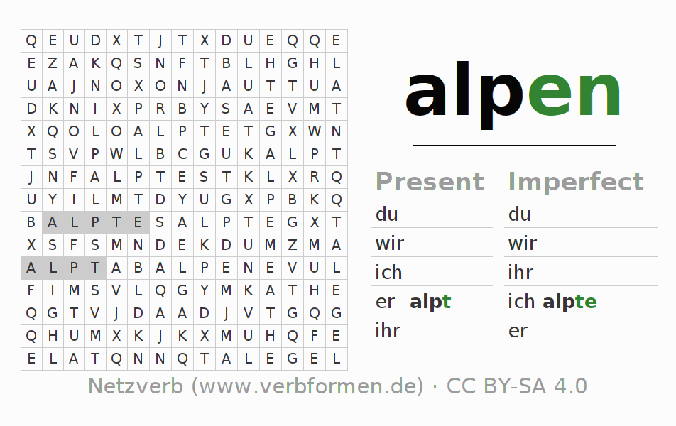 Word search puzzle for the conjugation of the verb alpen