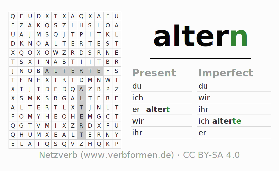 Word search puzzle for the conjugation of the verb altern (ist)