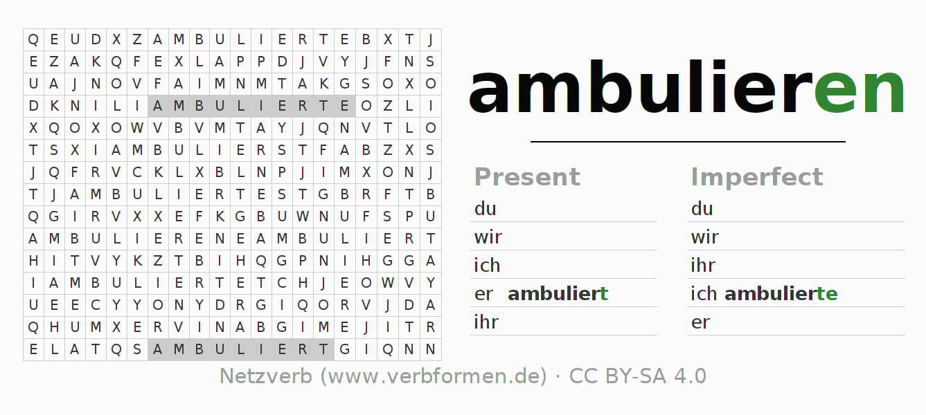 Word search puzzle for the conjugation of the verb ambulieren (hat)