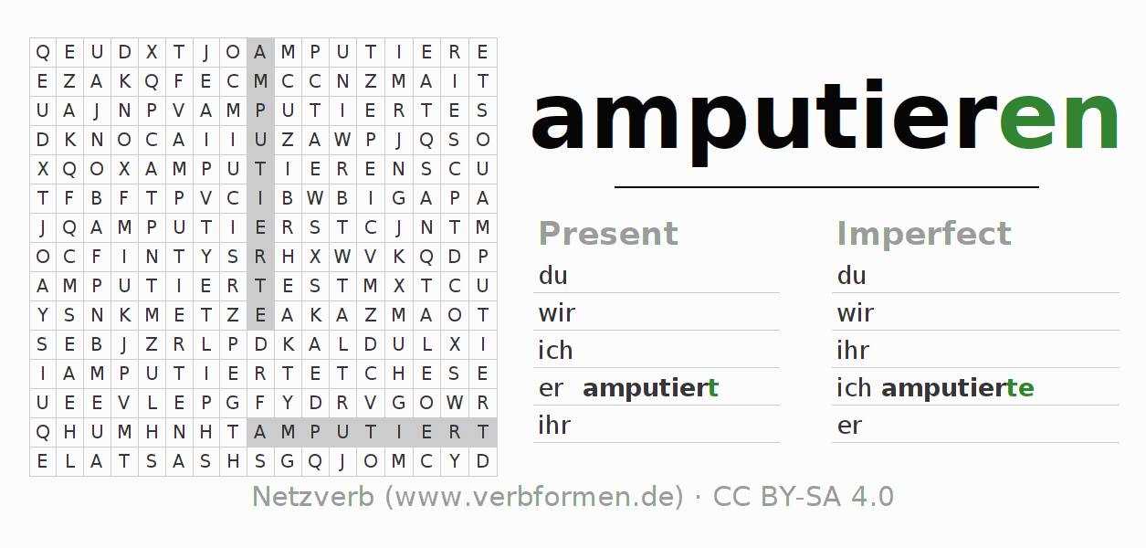 Word search puzzle for the conjugation of the verb amputieren