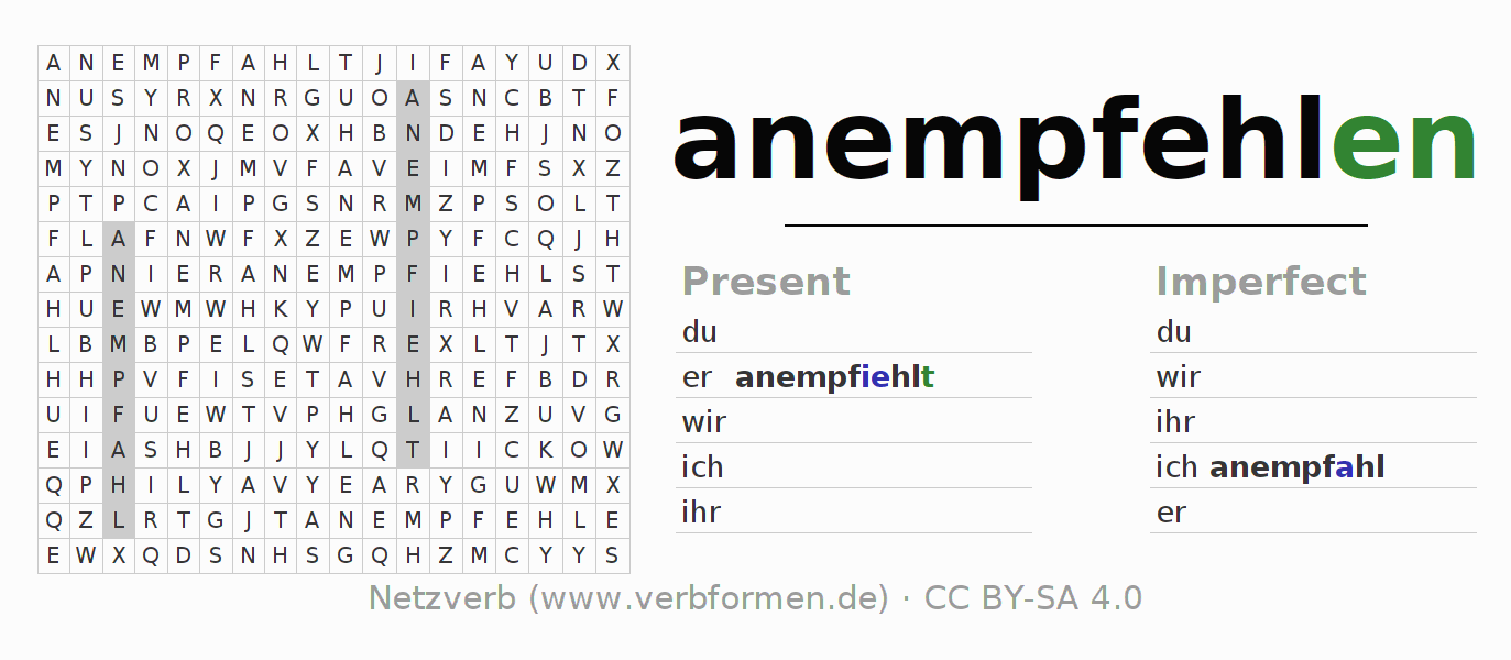 Word search puzzle for the conjugation of the verb anempfehlen