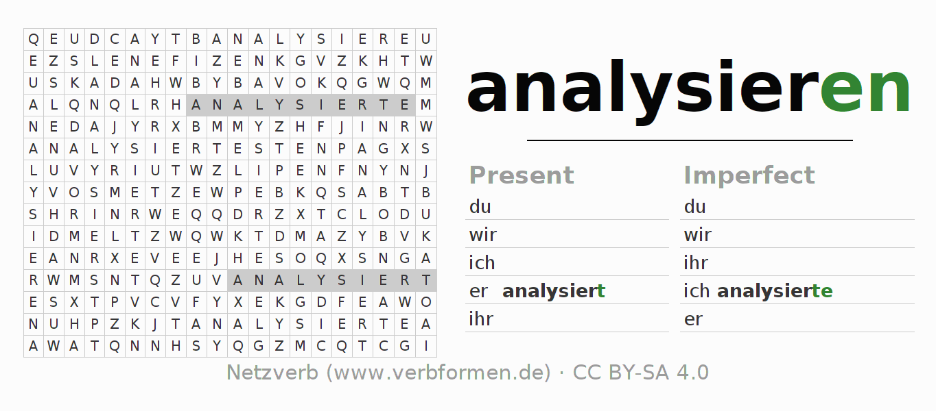 Word search puzzle for the conjugation of the verb analysieren