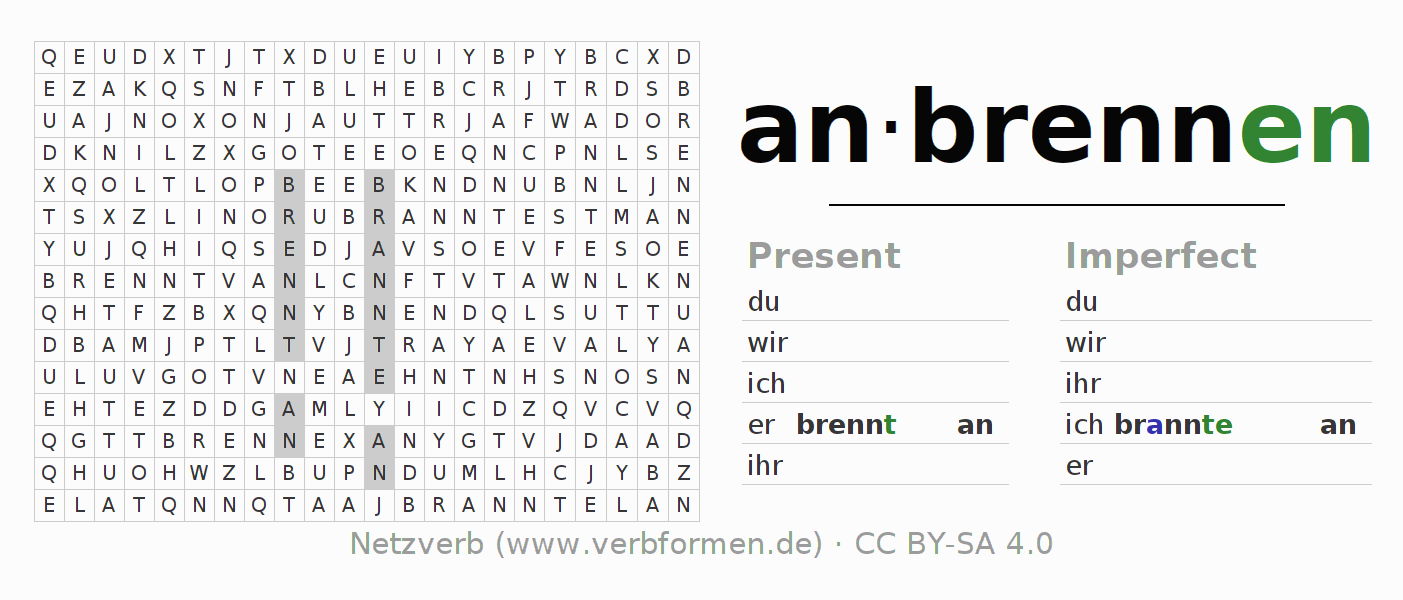 Word search puzzle for the conjugation of the verb anbrennen (hat)