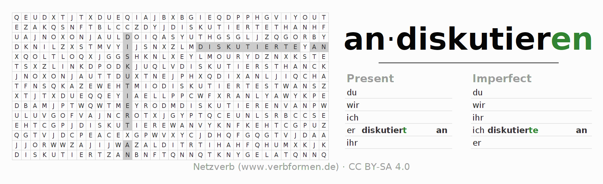Word search puzzle for the conjugation of the verb andiskutieren