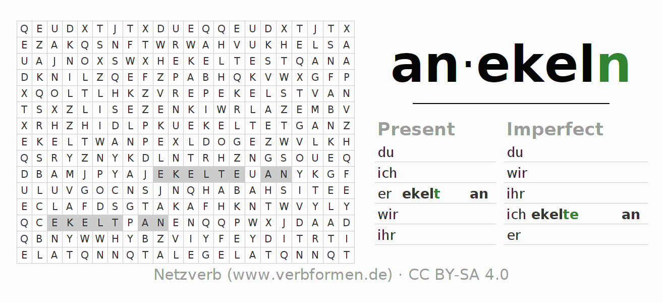 Word search puzzle for the conjugation of the verb anekeln