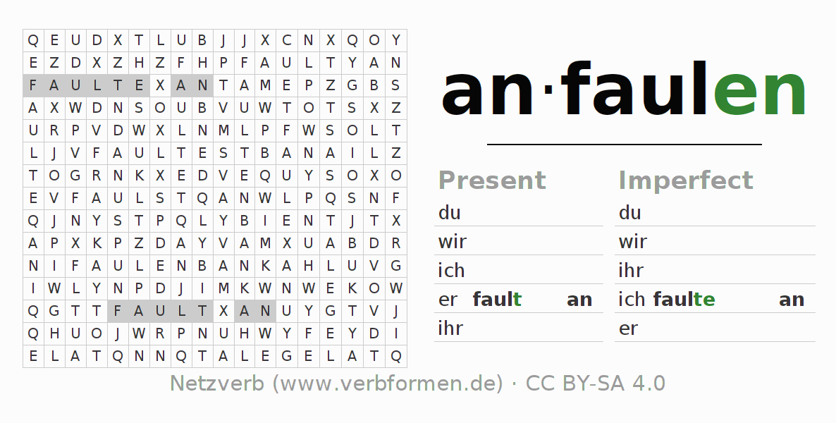 Word search puzzle for the conjugation of the verb anfaulen