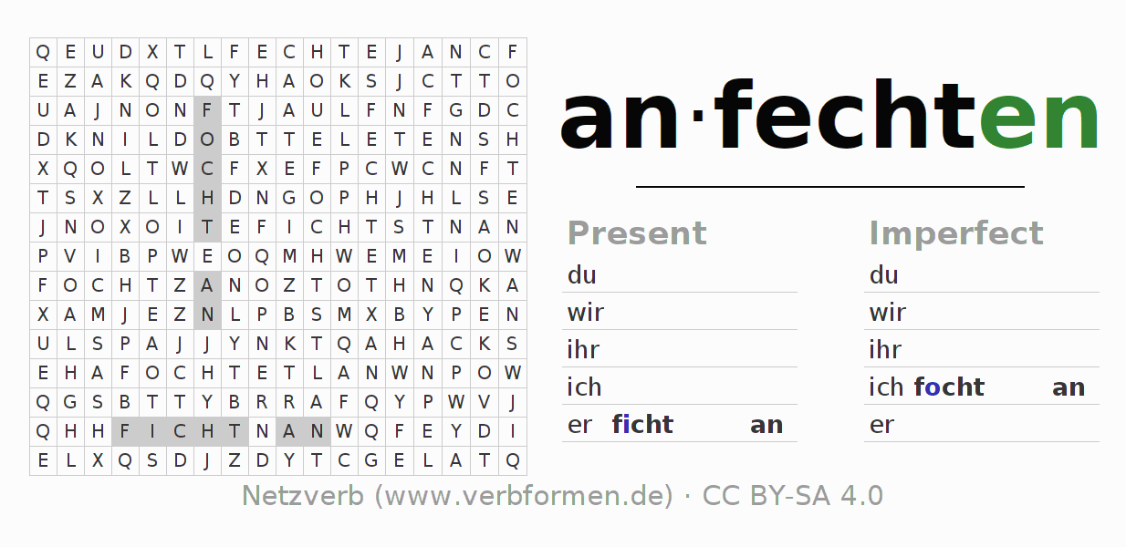 Word search puzzle for the conjugation of the verb anfechten