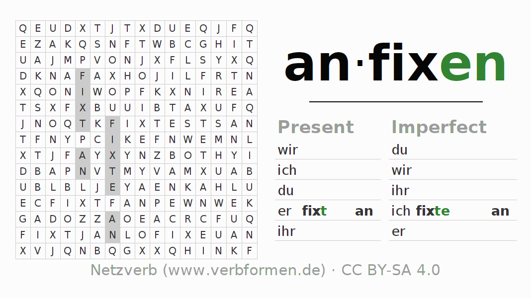 Word search puzzle for the conjugation of the verb anfixen