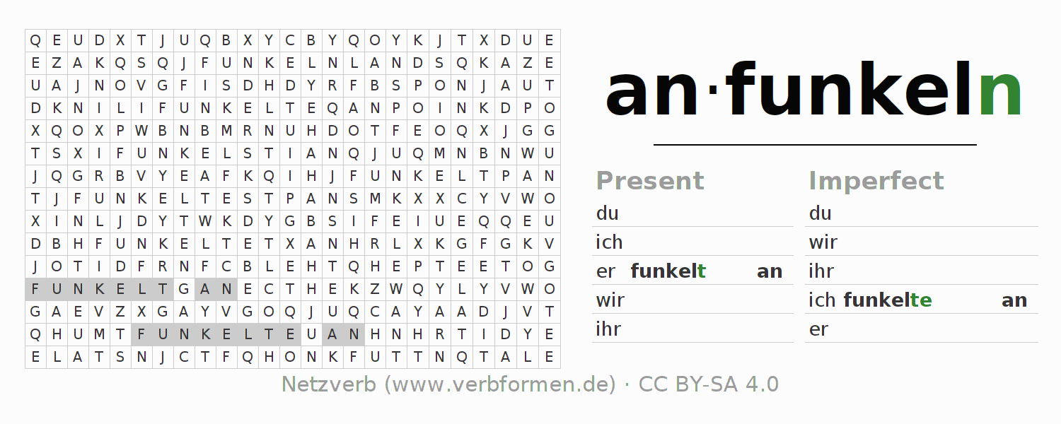 Word search puzzle for the conjugation of the verb anfunkeln