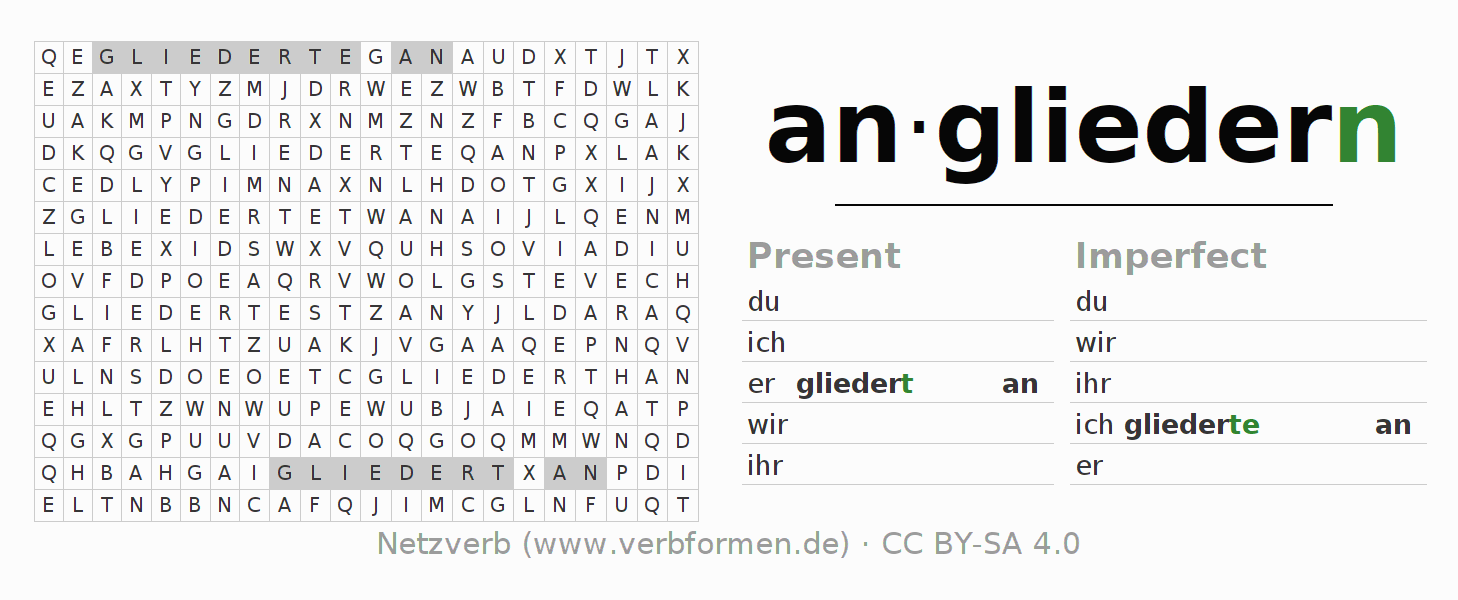 Word search puzzle for the conjugation of the verb angliedern